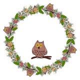 Julkrans av mistel med ugglan ferie vektor royaltyfri illustrationer