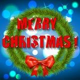 Julkrans med blå bakgrund. Vektor Royaltyfri Foto