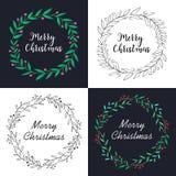 Julkrans med blom- garnering och att märka designuppsättningen stock illustrationer