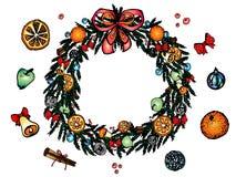 Julkrans med den röda pilbågen som isoleras på vit bakgrund stock illustrationer