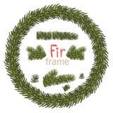 Julkrans med granbeuncher på vit bakgrund Xmas-garneringar Illustration för vektor eps10 royaltyfri illustrationer