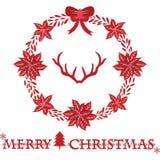 Julkrans med hjorthorn på kronhjort glad jul stock illustrationer