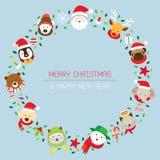 Julkrans med jultomten & djur Stock Illustrationer
