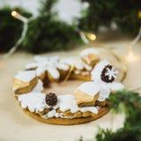 Julkrans med kakor E Julgran som dekoreras med ljus royaltyfri foto