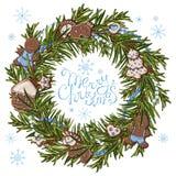 Julkrans med pärlor stock illustrationer