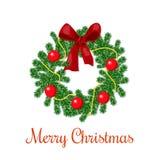 Julkrans med röda band- och prydnadbollar stock illustrationer