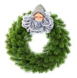Julkrans med Santa Claus garnering som isoleras på vit Royaltyfria Foton