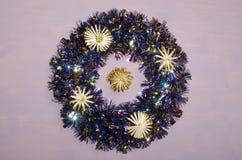 Julkrans med sugrörstjärnor Fotografering för Bildbyråer