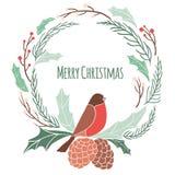 Julkrans med vinterflora vektor illustrationer