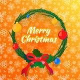 Julkrans på bakgrund med snöflingor royaltyfri illustrationer