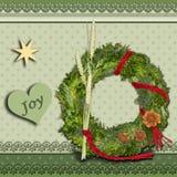 Julkrans på för stiljul för grön tappning ett scrapbooking kort arkivfoto