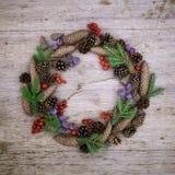 Julkrans på träbakgrunden Royaltyfria Bilder