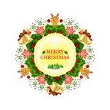 Julkrans som dekoreras med stjärnor, snöflingor, pilbågar, ljus och små hjortar stock illustrationer