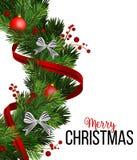 Julkransgarneringar med granträdet, gjorde randig pilbågar, sörjer kottar, järnekbär och dekorativa beståndsdelar för girland royaltyfri illustrationer