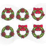 Julkransuppsättning med den röda pilbågesymbolen med lång skugga Minsta plan design för vektorillustration Royaltyfria Bilder