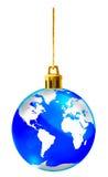julkristallen dekorerar jordklotet Arkivbilder