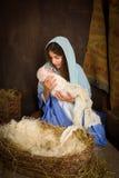 JulKristi födelse med jungfruliga Mary Arkivbilder