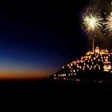Julkrubbaöppning med fyrverkerier - Manarola, Cinque Terre, Italien Arkivbilder