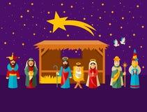 julkrubba för julfamiljhelgedom Royaltyfri Foto