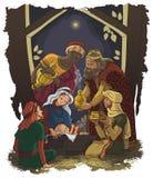 Julkrubba. Jesus, Mary, Joseph och trena  Arkivbild