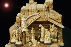 Julkrubba med den heliga familjen Royaltyfri Fotografi