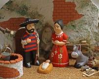 Julkrubba med den heliga familjen i mexicansk version 4 Arkivbild