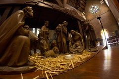 JulkrubbaKristi födelse av Jesus, trevlig Jesus födelse som göras av wood Perth Australien Royaltyfria Foton