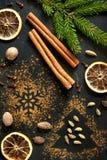 Julkryddor: kanel, kardemumma, muskotnöt och torkade apelsiner Arkivbilder