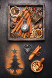 Julkryddor och garnering Arkivbild