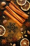 Julkryddor: stjärnaanis, kanel, kardemumma, kryddnejlikor och torkade apelsiner Fotografering för Bildbyråer