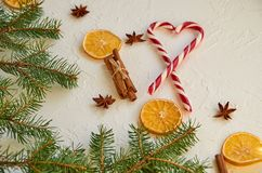 Julkryddor - torkade apelsiner, kanelbruna pinnar, anisstjärnor med röd hjärta av godiskottar på viten hårdnar bakgrund Royaltyfria Foton