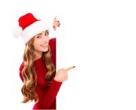 Julkvinna i den Santa Claus dräkten royaltyfri bild