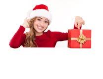 Julkvinna med gåvan arkivfoto