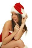 Julkvinna med pinnen för godisrotting Royaltyfria Bilder