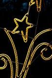 Jullampan med den ljusa stjärnan, vinter i stad parkerar Arkivfoto