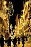 Jullampor i Florence, Italien Royaltyfri Fotografi