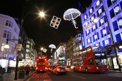 Jullampor i London Royaltyfria Foton