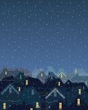 Jullampor i staden Arkivbild