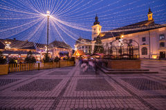 Jullampor i staden Royaltyfri Foto