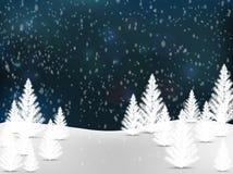Jullandskapbakgrund med snö och trädet, önskakort Arkivfoton