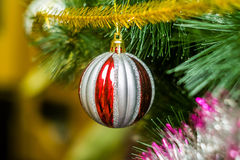 Julleksak på julgranen Fotografering för Bildbyråer