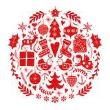 Julleksakboll Folk scandinavian nordisk stil för röd dekor Komponerar dekorativa beståndsdelar för lotter i cirkel: gåvaask royaltyfri illustrationer