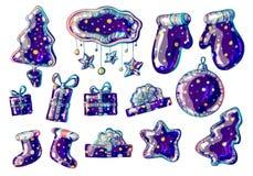 Julleksaker modellen, tumvantefilt startar trädstjärnan stock illustrationer