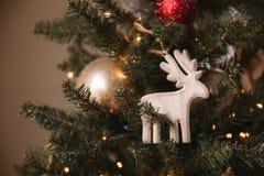 Julleksakträhjortar på julgranen arkivfoton