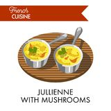 Jullienne with mushrooms meal from delicate french cuisine. That includes delicious sour cream sauce. Fine high-calorie dish for festive table isolated vector Stock Photography