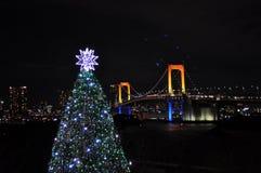 Jullightup på den Tokyo fjärden Arkivbilder