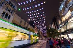 Julljus i Melbourne Bourke Street Mall Fotografering för Bildbyråer