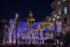 Julljus i Seville arkivfoto