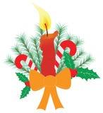 Julljus med ett stort bär för järnek för rottingar för bandpilbågegodis sörjer Royaltyfri Foto