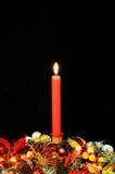Julljus och hållare. Arkivfoton